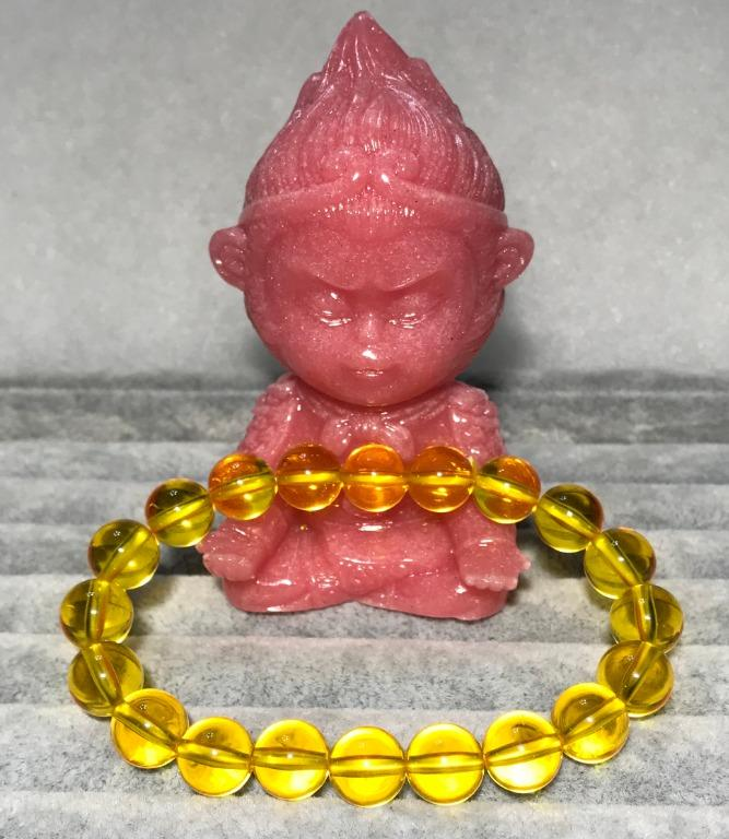 佛教七寶之一~「財石」~天然金珀單圈圓珠手鍊 10+