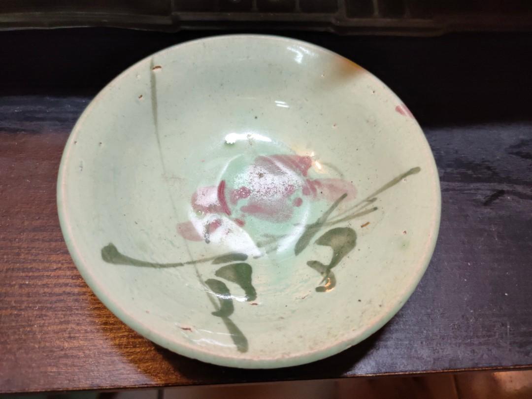 古瓷器民國花卉茶碗