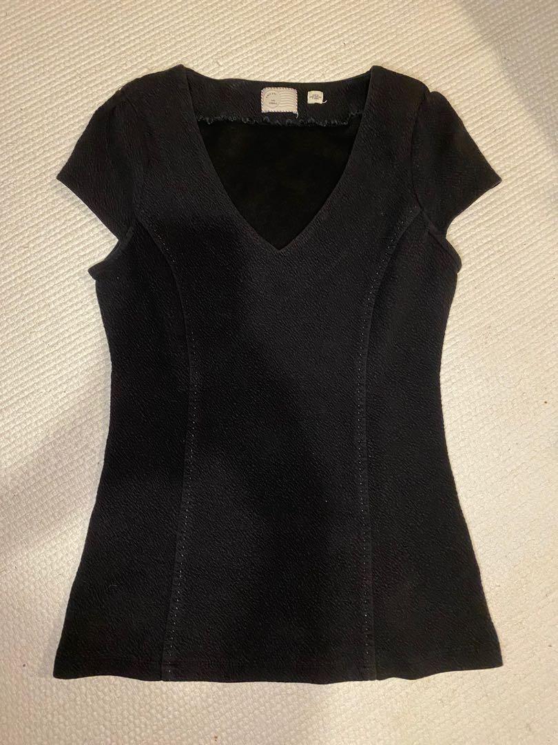 Anthropologie 9-H15 STCL Black T-shirt Women's size xsmall