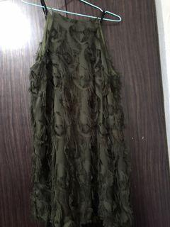 Army Green Feather Dress