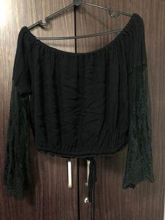 Black Lace Off Shoulder Top