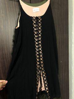 Black Tie Up Front Dress