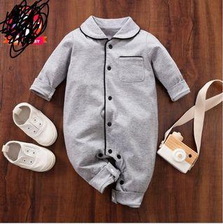 BNWT Grey Baby Boy / Girl Newborn Cotton Solid Polo Collar Cardigan Pocket Design Long-sleeve Jumpsuit