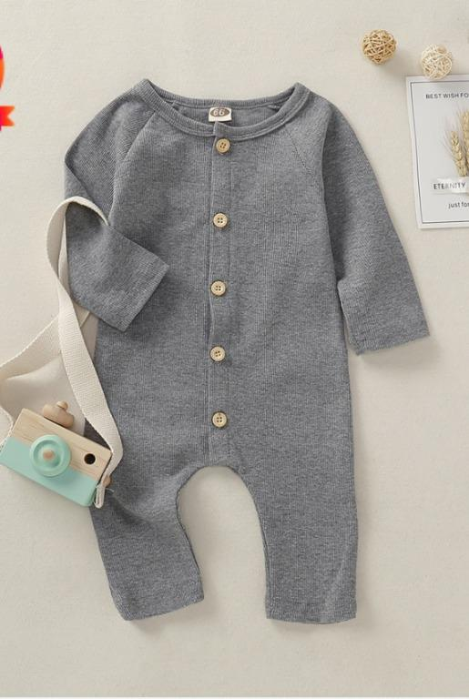 BNWT Grey Baby Boy / Girl Solid Cardigan Design Long-sleeve Jumpsuit
