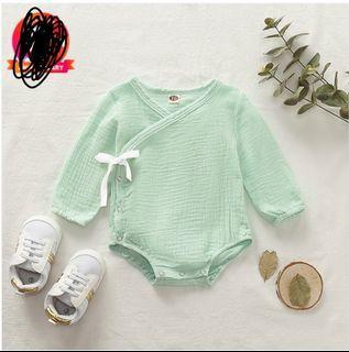 BNWT Light Green Baby V Neck Long-sleeve Romper
