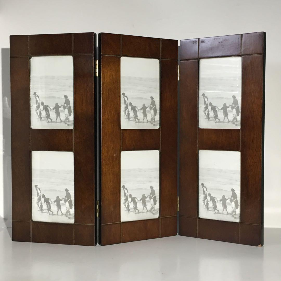 Brown Wood Triple Hinge Picture Frame 4x6 Pictures