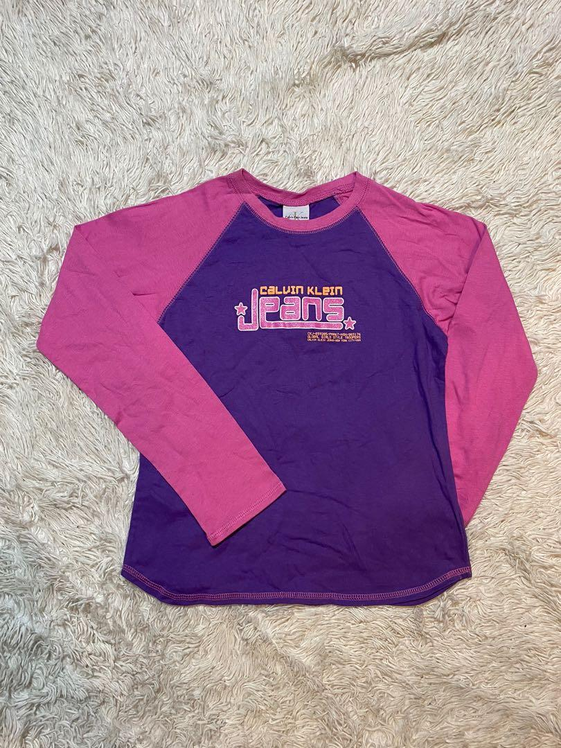 Calvin Klein Jeans Retro T-Shirt | Purple and Pink | Size XL