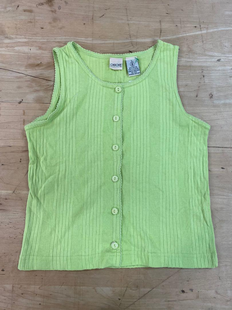 Cherokee Button-Up Tank Top   Pastel Green   Size L