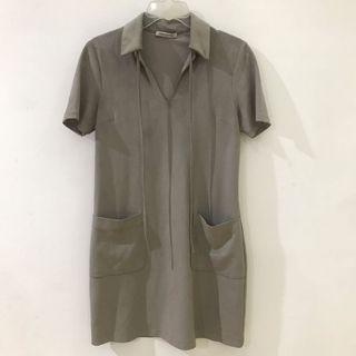 Suede Dress w/ Pockets & Collar
