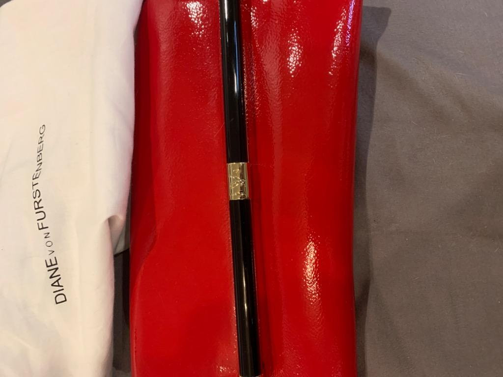DVF red patent clutch new