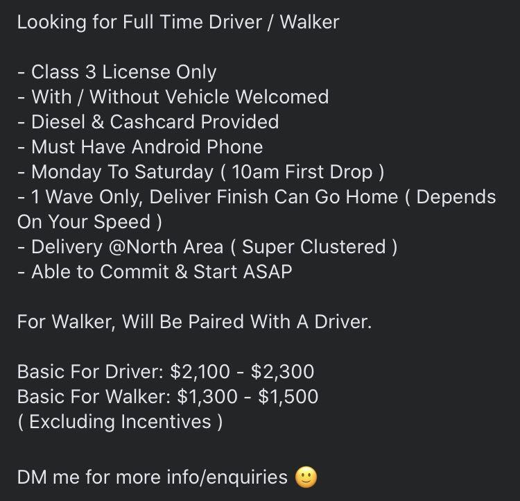 Full Time Delivery Driver / Walker