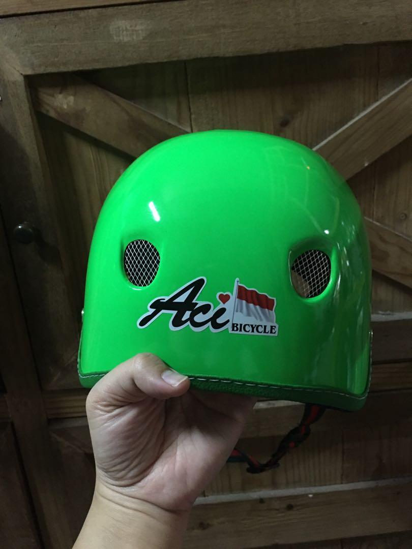 helm sepeda lipat aci ijo stabilo #BarangNumpuk