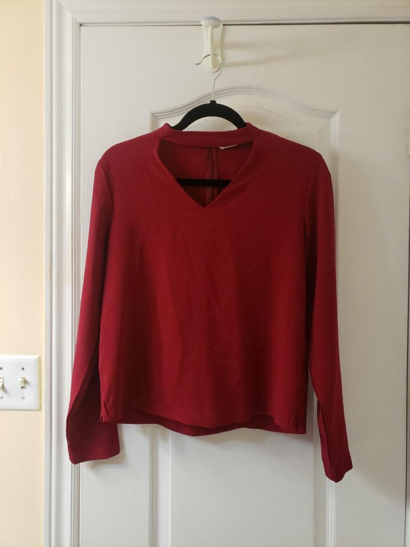 High neck blouse with cut out