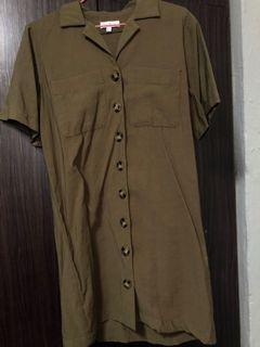 Love Bonito Army Green button down Dress