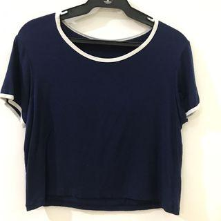 Navy Blue ringer Tee Cropped Top 100% Cotton