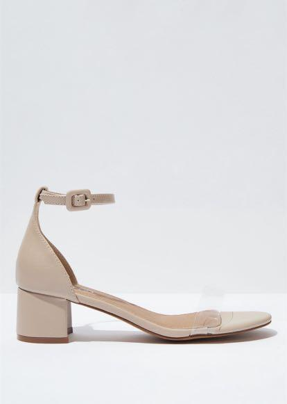 Nude and Clear Block Heels