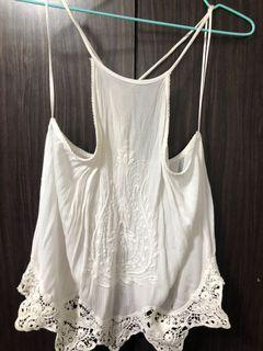 Pull and Bear White Embroidery Top