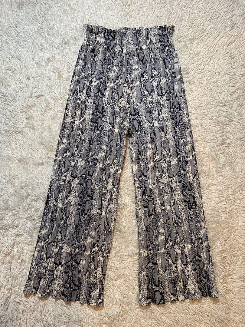 Snake Print Pleated Pants | Grey | Size S/M