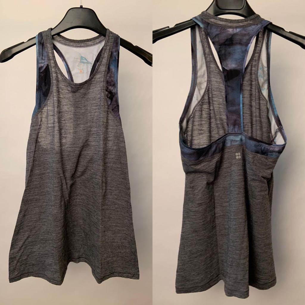 Sweaty Betty Gym Vest Top atasan baju olahraga Sz S preloved import
