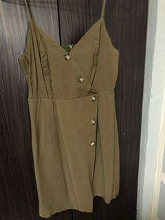The Editor's Market army green wrap dress
