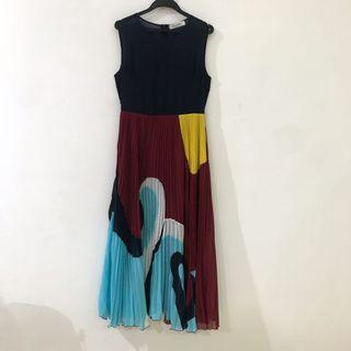 Valentino Pleated Dress w/ Prints