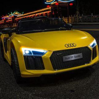 Yellow Audi R8 Spyder Rechargeable Ride On Car