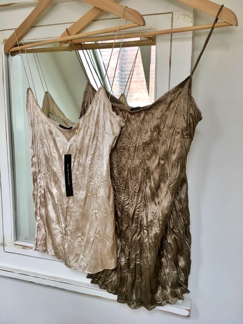 2 BRAND NEW TAGS ON Ellie ⭐️Tahari gorgeous silk scrunch camisoles($69 each)⭐️