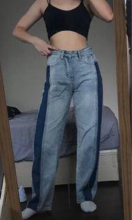 側邊深色牛仔寬褲