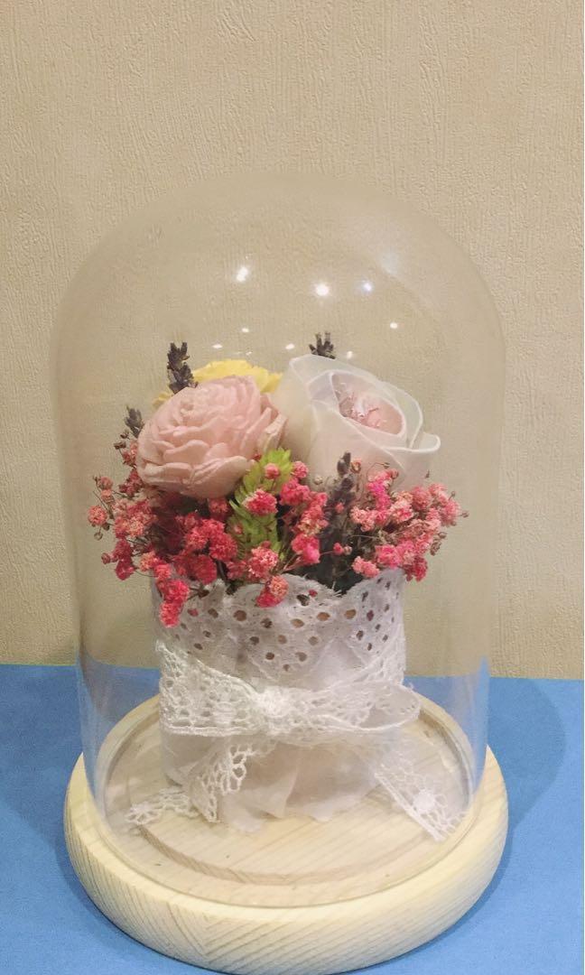 乾燥花玻璃盅擺飾
