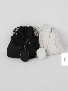 帆布小掛包束口側背包