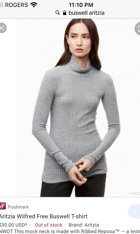 Aritzia Wilfred free buswe turtleneck heather light grey size SMALL
