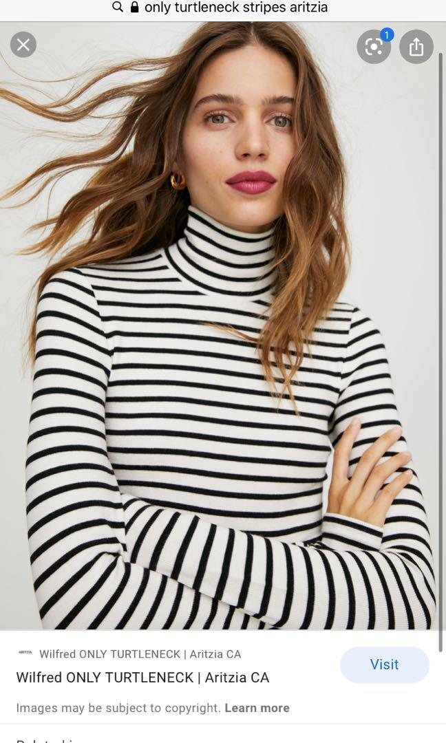 Aritzia Wilfred Only turtleneck white with black stripes size SMALL