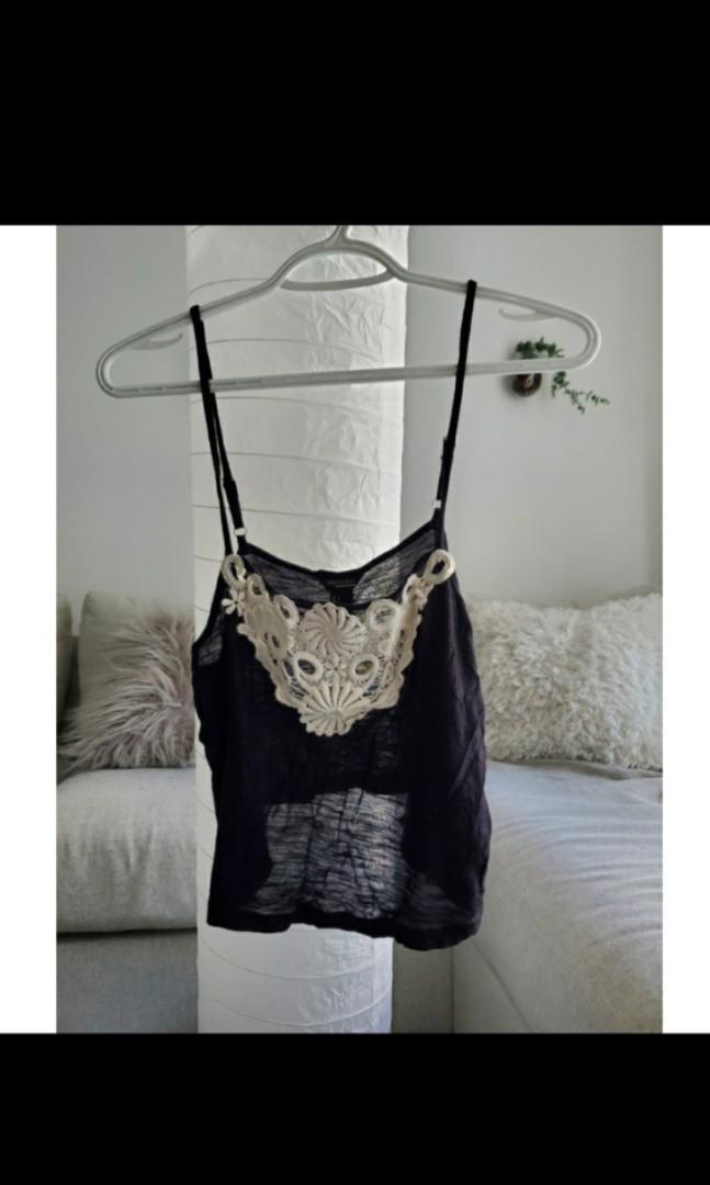Black crop top with crochet detail