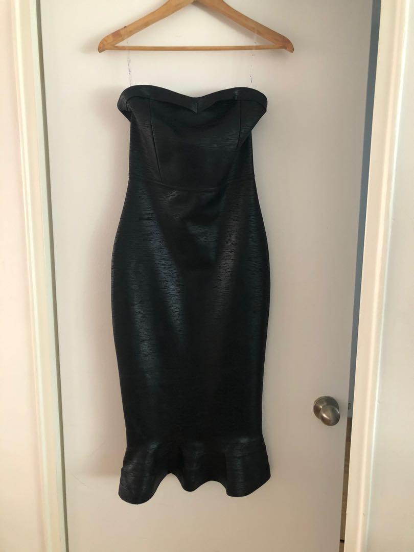 Black long strapless dress, size M