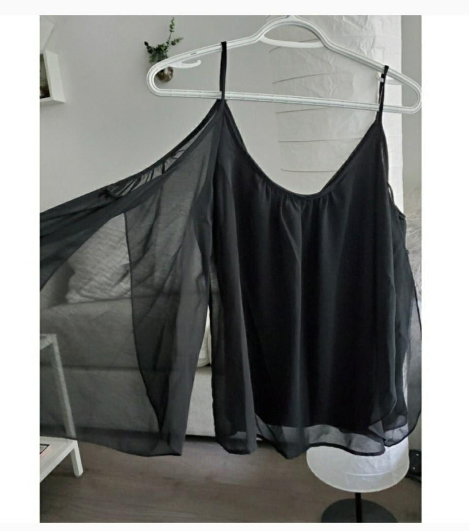 Black top with open chiffon sleeves