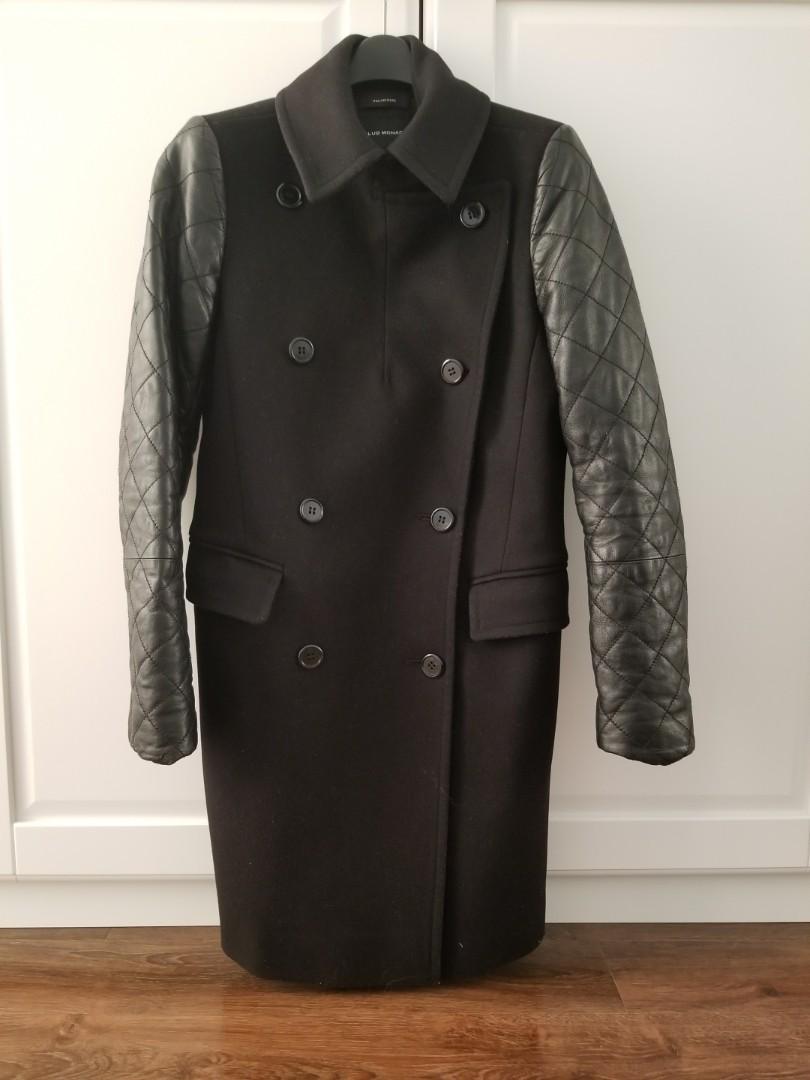 Club Monaco Lamb Leather Italian Wool Coat