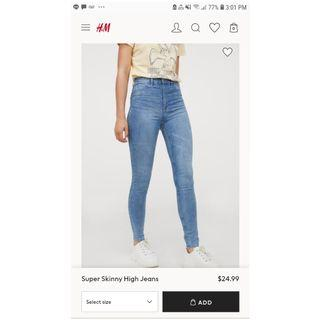 H&M blue high-waisted jeans