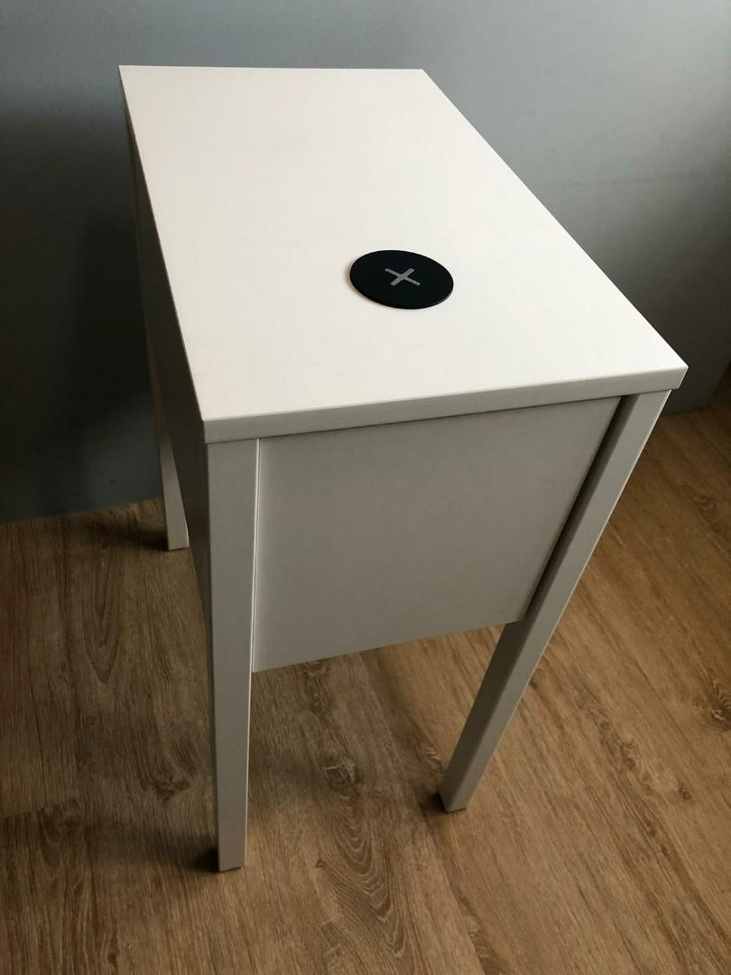 Picture of: White Ikea Bedside Table With Wireless Charging Furniture Tables Chairs On Carousell