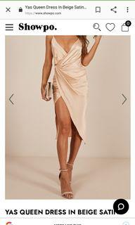 Showpo Yas Queen Dress in Blush Satin *Never Used!