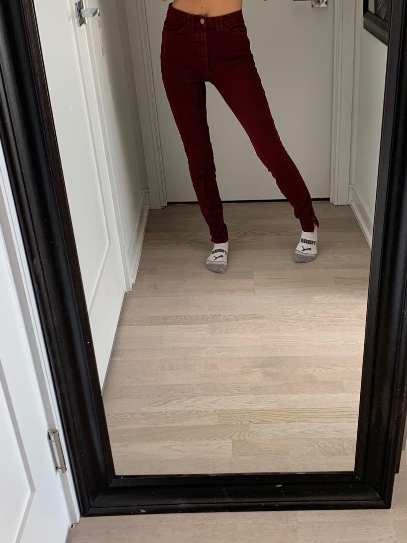 American Apparel High-Rise Jeans Size 24/25 Oxblood Colour