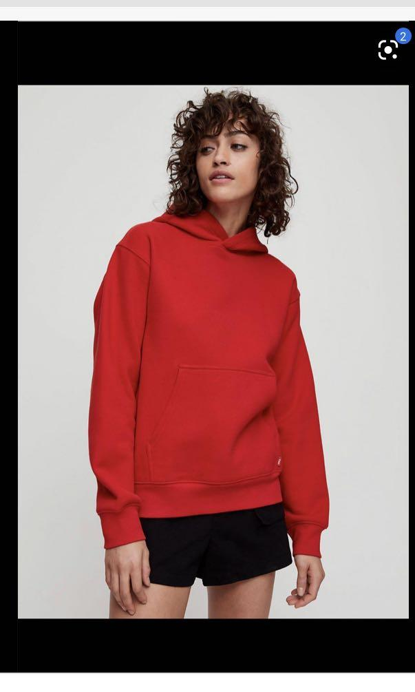 Aritzia TNA cozyaf perfect hoodie bright RED size SMALL