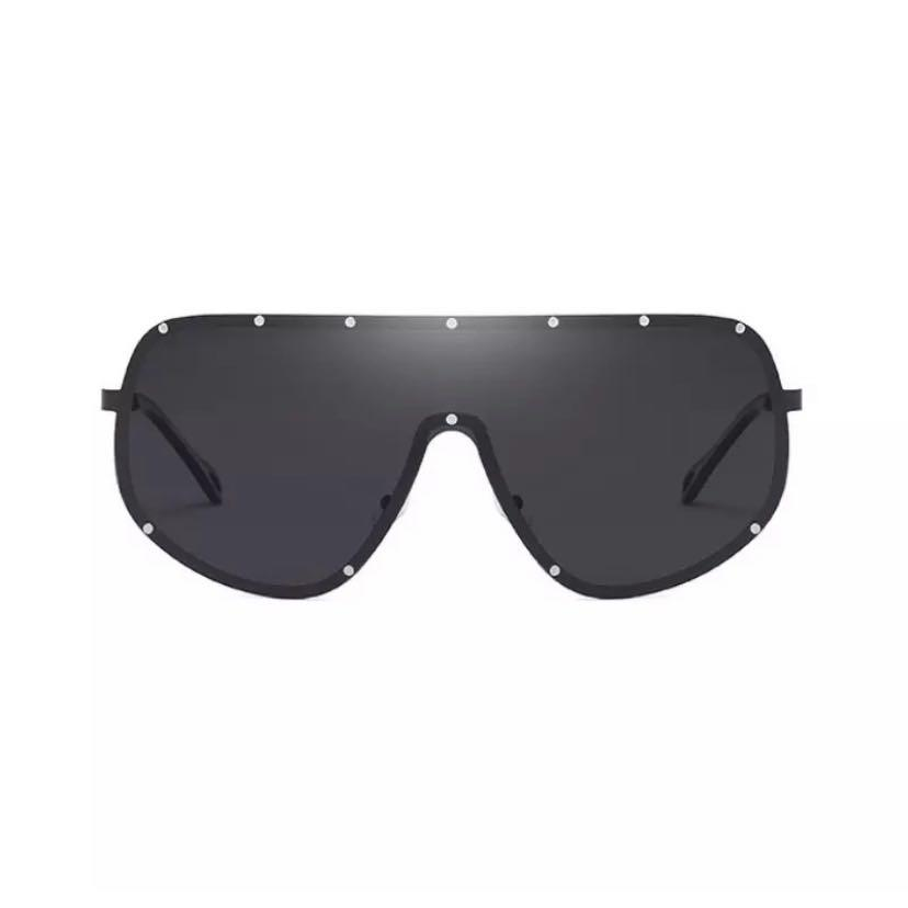 Brand New Black Silver Screwed Oversized Goggle Style Shades