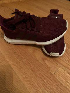 Burgundy adidas running shoes