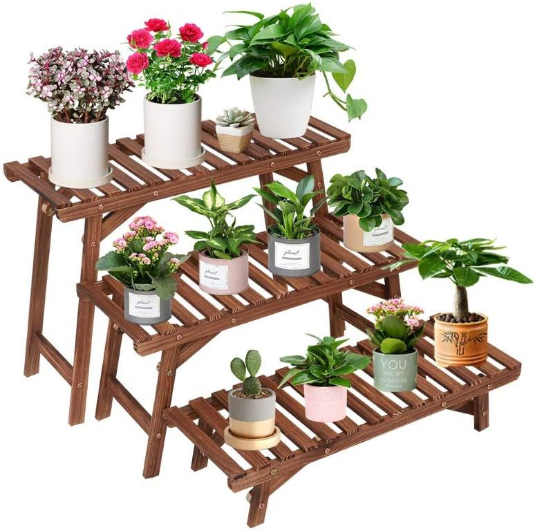 Chk Wood Plant Stand Indoor Outdoor 3, Patio Plant Stands Tiered