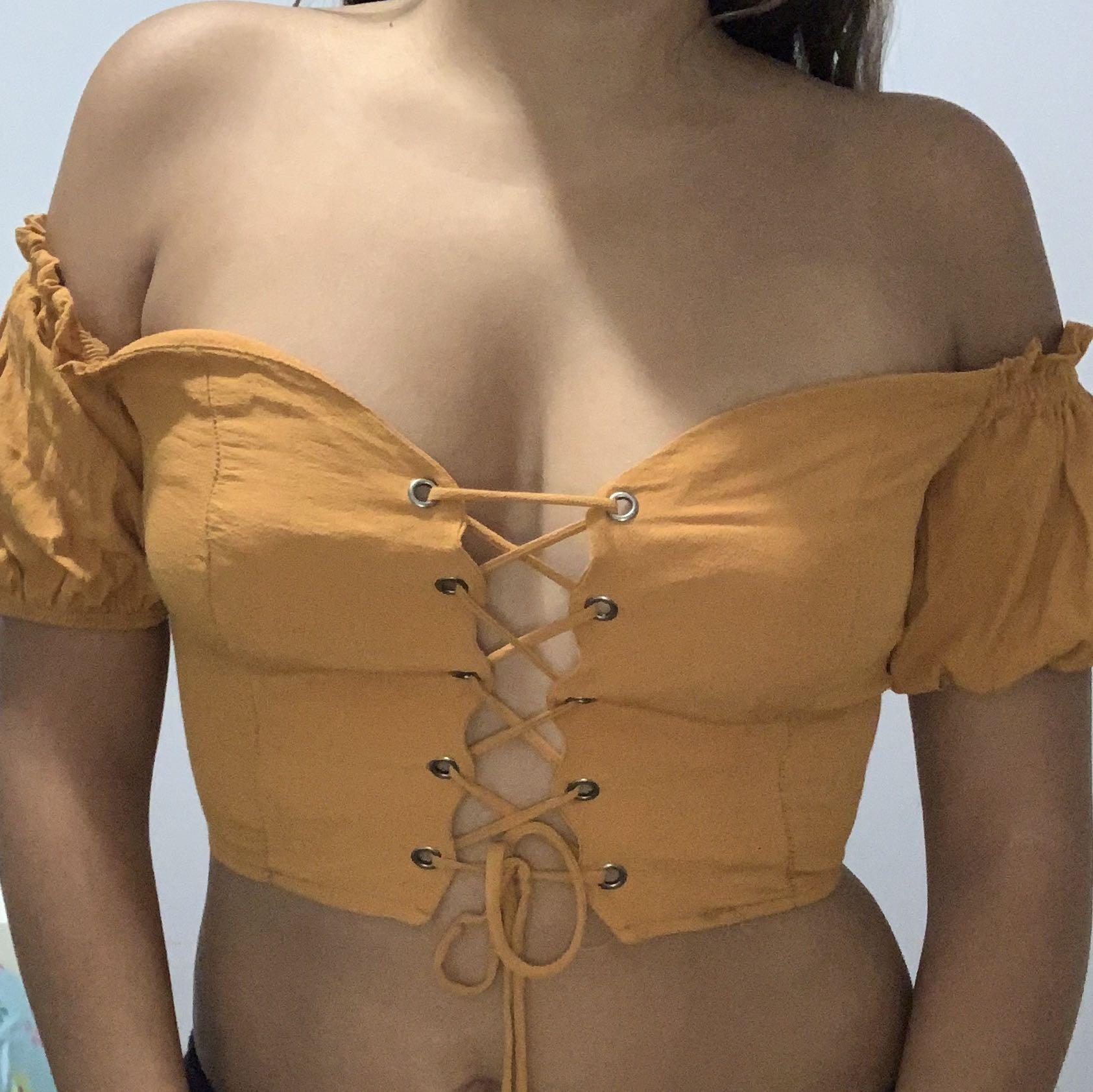 Fashion Nova Orange Crop top Size S