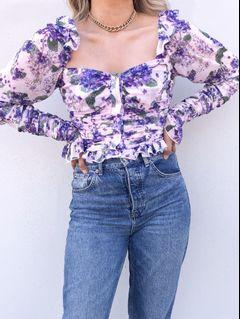 Floral Ruched Sleeve Top