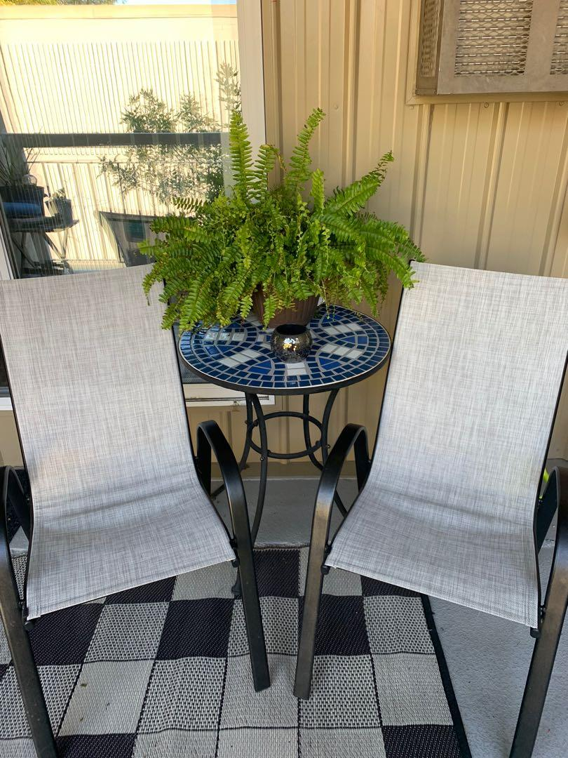 Mosaic Table and sling chairs (2)