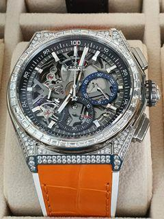Zenith Defy 21 Diamond Bazel, the most accurate chronograph 1/100 second, only wear 2 times, list price SGD 51,300