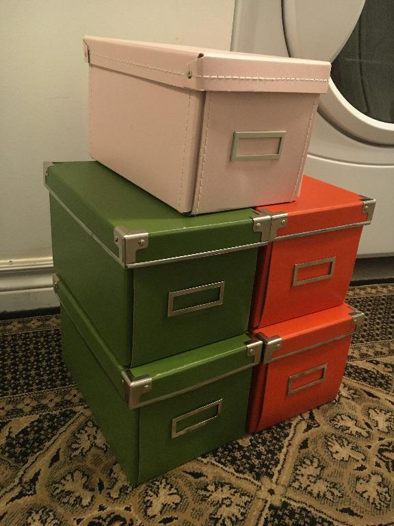 5 IKEA storage boxes with lids