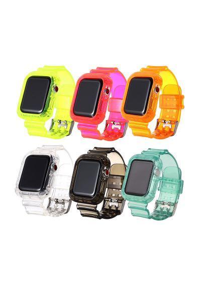 Apple Watch 42/44mm手錶保護殼 果凍綠 果凍橘各1